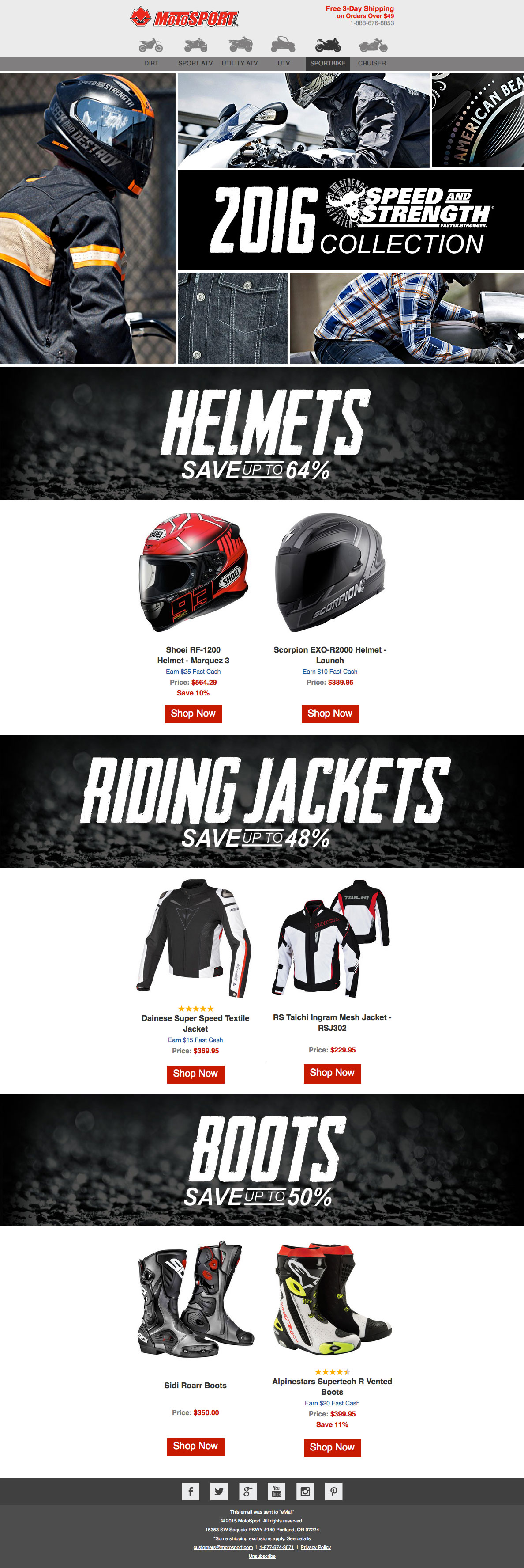 Motosport Speed and Strength Sportbike email design