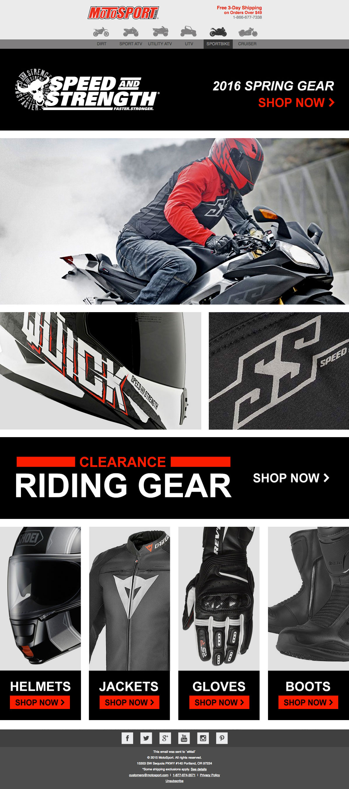 Motosport Speed and Strength 2016 Spring Gear email design